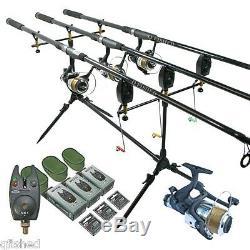 3 Rod Carp Fishing Set 3 Rods 3 Reels 3 Vx1 Bite Alarms Pod + 3 Indicators Ngt