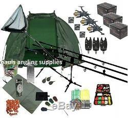 3 Rod Carp Set Up Kit Fishing Rods Reels Alarms Bait Tackle Mat Shelter Net