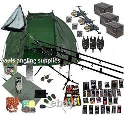3 Rod Carp Set Up Kit Fishing Rods Reels GIANT Tackle PACK Mat Shelter Net