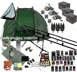 3 Rod Carp Set Up Kit Fishing Rods Reels Tackle Pack Alarms Mat Shelter Net p22
