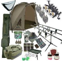 3 Rod Carp Set Up With Shelter Bivvy Tent. Carp Fishing Set. Rods Reels Bait Bag
