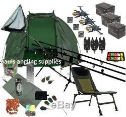 3 Rod Mega Carp Fishing Set Up Kit Rods Reels Chair Alarms Bait Tackle Mat P15