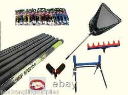 Carp Basher 11 m Take Apart Fishing Pole 2 x Rollers Rigs Net Roost Elastic Kit