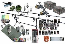 Carp Fishing Kit Set Shakespeare Rods Reels Tackle GIANT Accessory Pack
