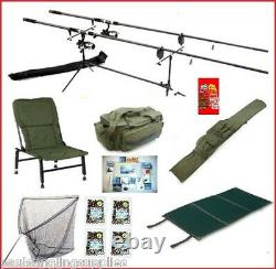 Carp Fishing Mega Kit Rods Reels Alarms Chair Rod Pod Net Rod Bag Bait + Tackle