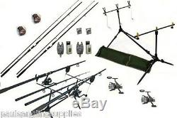 Carp Fishing Set 2 Rods 2 Reels 2 Alarms Rod Pod + More ah665