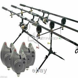 Carp Fishing Set 3 Rods 3 Reels 3 Bite Alarms Pod + 3 Indicators Fishing Chair