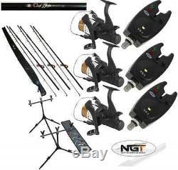 Carp Fishing Set Up 3 X 12ft Carp Rods + 3 X Carp Reels + 3 X Bite Alarms + Pod