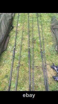 Carp Fishing Setup, bivvy, rods Reels, bed, tackle, And More