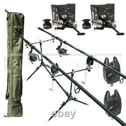 Carp Fishing set up 2 Rods Reels Bite Alarms Holdall Rod Pod