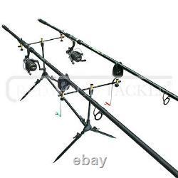 Carp/Pike Fishing Kit 2 Rods 2 FreeSpool Reels Pod, + 2 Alarms + Shelter/Bivvy