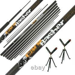 Carp Pole Basher 11m Full Carbon Carp Fishing Match Coarse Fishing + Tripods