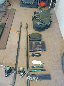 Carp fishing complete set up, rods reels, bite indicators, rod pod, landing net