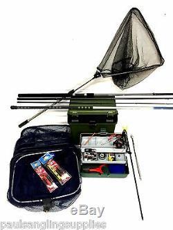 Coarse Float Fishing Kit Set 12ft Rod, Reel, Box, Tackle Rigs + Pole Net