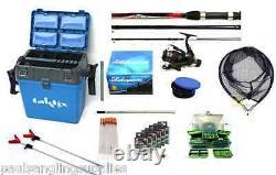 Coarse / Float Fishing Kit Shakespeare Rod + Reel Seat Box Net Hooks All Tackle