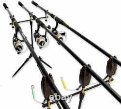 Complete Carp Fishing Set 3 Rods and Reels Set Up With Bivvy Tackle Luggage More