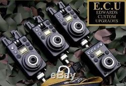 Edward Custom Upgrades NEW ECU MK1 Compact 3 Rod Carp Fishing Bite Alarm Set