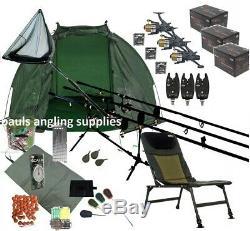 Full 3 Rod Carp Fishing Set Up Kit Rods Reels Chair Alarms Bait Tackle Mat Net
