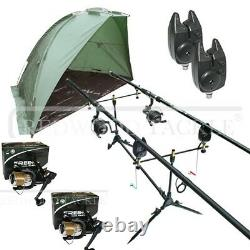 Full Carp Fishing Set + Day Shelter Rods Reels Alarms With Bivvy Tent Shelter