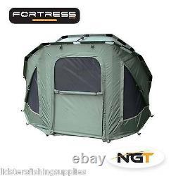 Full Carp Fishing set up Three Rib Bivvy Tent Bed Chair 3 Rods Reels Bag Alarms