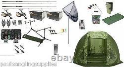 Grandeslam Full Carp Fishing Set Up Kit Rods Reels Alarms Tackle Mat & Shelter