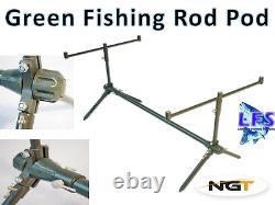 Green Coated Aluminium Fishing Rod Pod Fully Adjustable With Case 3 Rod Set up