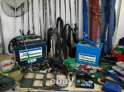 HUGE COARSE CARP FISHING TACKLE SET UP JOB LOT rods reels seatbox nets luggage
