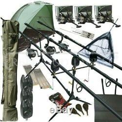Mega Carp Fishing Set Up Kit 3PC Rods Reels Rigs Alarms Bait Tackle Tools Mat