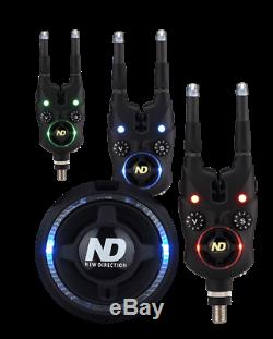 ND Tackle Wireless Bite Alarm Set K9s Bite Indicator With LED Snag Ear carp fish