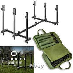 NEW Saber Terrain Pod 2 / 3 Rod Pod Lightweight Adjustable Carp Fishing Tackle