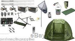 NGT Full Carp Fishing Set Up Kit Rods Reels Alarms & Tackle Mat & Shelter