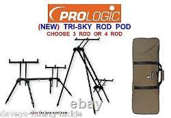 New 2020 Black Prologic Tri Sky Rod Pod+bag Barbel Carp Fishing 3 4 Rod Rest