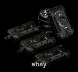 New Sonik SKX Bite Alarms & Receiver 3 rod set + Free bivvy Lamp incl Carry Case