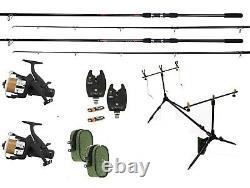 Shakespeare 2 Rod Carp Fishing Set Up Kit Rods Reels Alarm Indicators