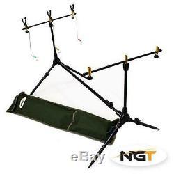 2 Rod Pêche À La Carpe Configuration Kit Avec Des Bobines D'atterrissage Pod Net Appât Mat Tackle Ngt