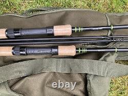 2 X Korum Opportunist 8ft Carp Stalker Rods Avec Nash Nwarf Rod Bag
