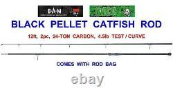 2021 Dam Mad Cat 12ft 2pc Black Pellet Catfish Rod 24 Tonnes Carbone Pêche
