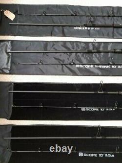 3 Nash Scope Rods 10ft 3.5 + 1 Nash Nwarf Rod 10ft 4.5 Spad Rod