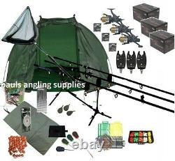 3 Rod Mega Carp Fishing Set Up Kit Rods Reels Alarms Bait Tackle Mat Pc14