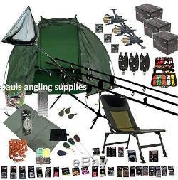 3 Rod Mega Pêche À La Carpe Set Up Rods Kit Reels Chaise Giant Pack Engins Net Pc23
