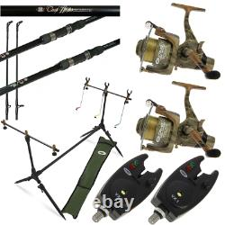 Camo Carp Fishing Set Up 2 X 12ft Carp Rods + 2 X Carp Reels + 2 X Alarms + Pod
