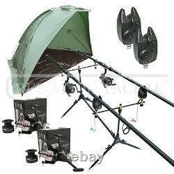 Carpe / Pike Pêche Kit 2 Tiges 2 Btr / Spool Gratuit Reels Pod + 2 Alarmes + Abri / Bivvy