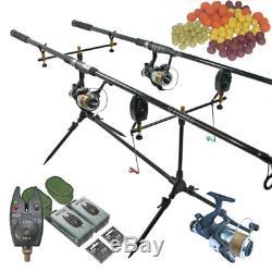 Complète Pêche À La Carpe Set Up 2 X Rods + 2 X Reels + Rod Pod + Alarmes + Bouillettes