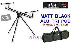 Dam Alu Matt Noir Tri Rod Pod + Sac De Carry Carp Barbel Pêche Haute Rod Pod