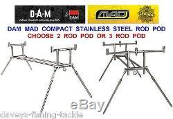 Dam Mad Compact En Acier Inoxydable Rod Pod + Mallette De Transport / Sac Pêche À La Carpe 2 Ou 3 Rod