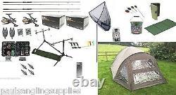Full Carp Fishing Set Up Kit Rods Reels Alarmes T Tackle Mat & Bivvy