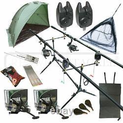 Full Carp Fishing Set Up Kit Rods Reels Alarmes & Tackle Mat & Shelter