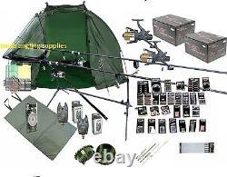 Full Carp Fishing Set Up Kit Rods Reels Rigs Alarmes Appât Tackle Tools Mat Giant