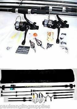 Kit De Pêche À La Carpe 2 X Rod Mis En Place Reel Rod Pod + Tackle