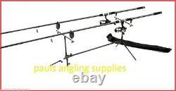 Mitchell Carp Fishing Set Up / Kit 2 Tiges 2 Bobines 2 Alarmes + Rod Pod